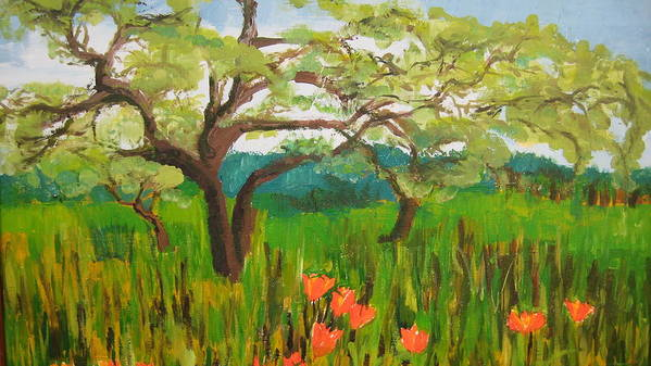 Landscape Art Print featuring the painting Field Of Red Poppies by Mabel Moyano