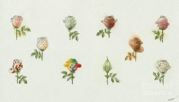 Flowers Roses Garden Love Art Print featuring the painting Florentius The Gardener05 by Kestutis Kasparavicius
