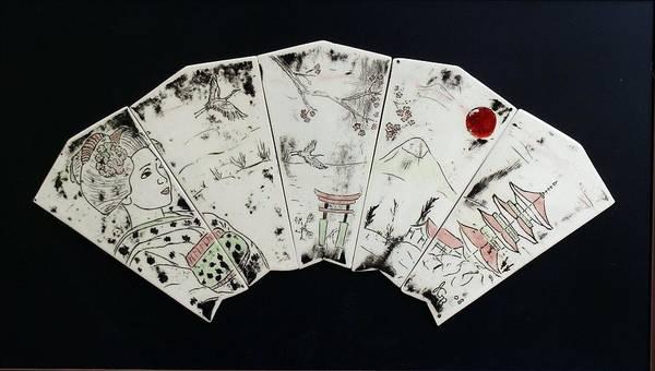 Geisha Art Print featuring the painting Geisha Fan by Jackie Ramo