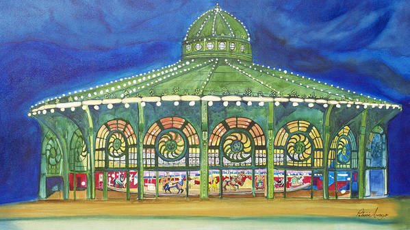 Night Paintings Of Asbury Park Art Print featuring the painting Grasping The Memories by Patricia Arroyo