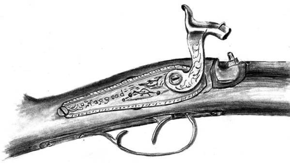 Antique Firearm Art Print featuring the drawing Hapgood Musket by Kevin Callahan