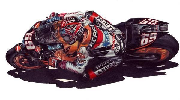 Nicky Hayden Art Print featuring the drawing Hayden by Kristen Wesch