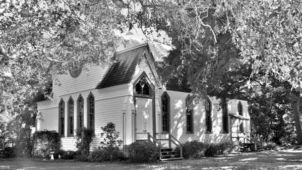 Historic Andrews Memorial Chape Dunedin Florida Black And Whitel Art Print featuring the photograph Historic Andrews Memorial Chapel Dunedin Florida Black And White by Lisa Wooten