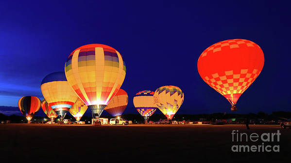 Night Art Print featuring the photograph Hot Air Balloon Night Glow by Monica Hall