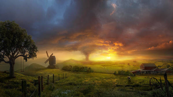 Landscape Art Print featuring the painting Infinite Oz by Philip Straub