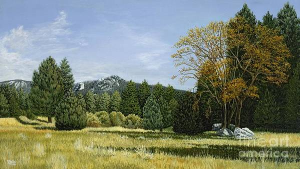 Landscape Art Print featuring the painting Isomata Meadow by Jiji Lee