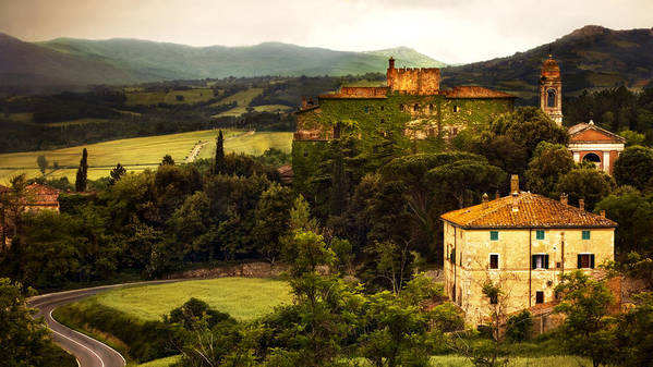 Italy Art Print featuring the photograph Italian Castle And Landscape by Marilyn Hunt