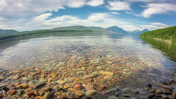 Park Art Print featuring the photograph Lake Mcdonald In Glacier National Park At Sunset by Alex Grichenko