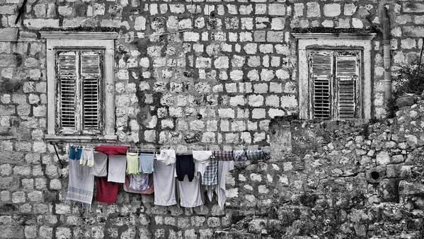 Dubrovnik Art Print featuring the photograph Laundry Line - Dubrovnik Croatia #3 by Stuart Litoff