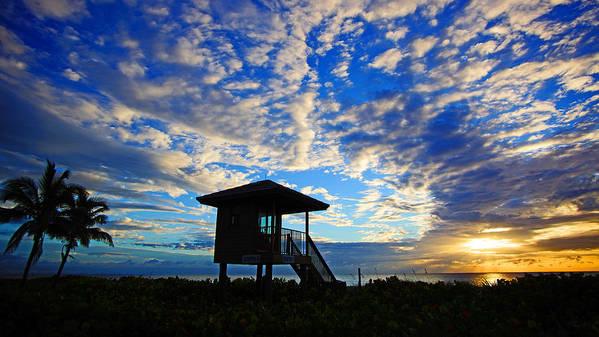 Sunrise Art Print featuring the photograph Lifeguard Station Sunrise by Lawrence S Richardson Jr