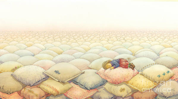 Sleep Dream Evening Landscape Pink Sky Cloud Art Print featuring the painting Lisas Journey03 by Kestutis Kasparavicius