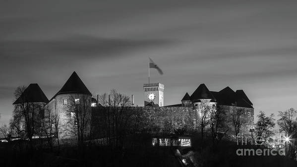 Isaev Art Print featuring the photograph Ljubljana Castle In Black And White by Vyacheslav Isaev