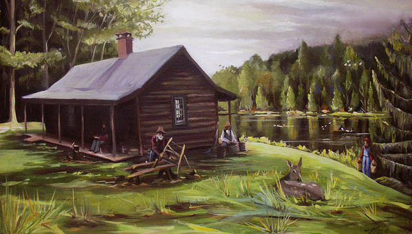 Log Cabin Art Print featuring the painting Log Cabin By The Lake by Nancy Griswold