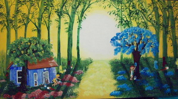 Folk Art Print featuring the painting Magical Mischief by Susan Michutka