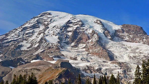 Mountains Art Print featuring the photograph Mt. Rainier In The Fall by Larry Keahey
