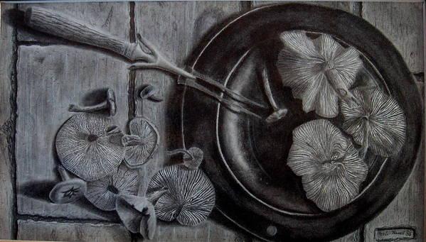 Mushroom Art Print featuring the drawing Mushroom Dinner by Eric Hausel