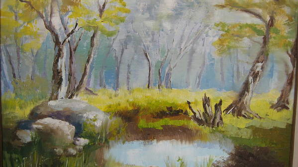 Landscape Art Print featuring the painting My Pond by Mabel Moyano