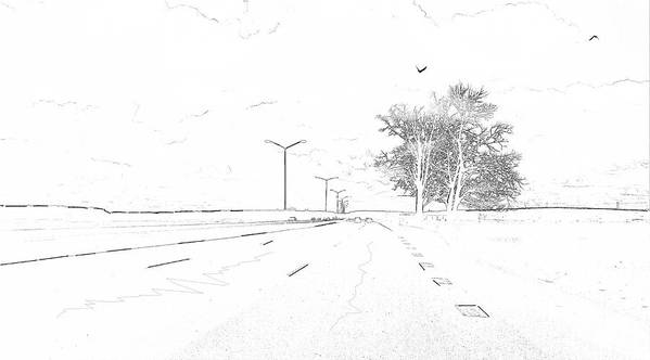 #road#home#car#tree#sky#birds#home#landscape#outskirts#small#town#highway#travel# Art Print featuring the photograph ...on My Way... by Aleksandrs Drozdovs