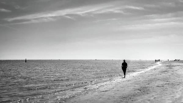 Black Art Print featuring the photograph On The Beach - Malahide, Dublin - Black And White Street Photography by Giuseppe Milo