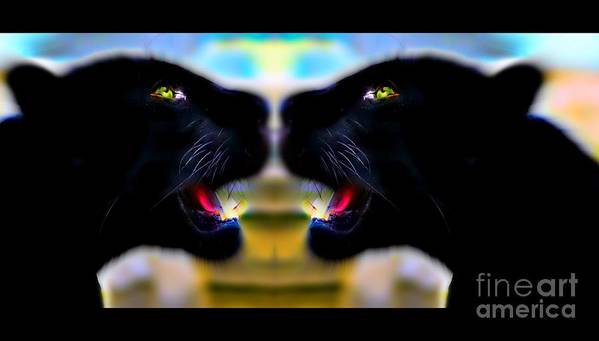 Panther Reflection Duo By Wbk Art Print featuring the painting Panther Reflection Duo by Wbk