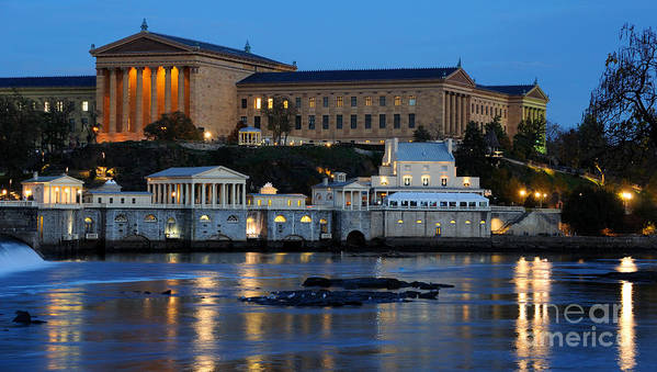 Philadelphia Art Print featuring the photograph Philadelphia Art Museum And Fairmount Water Works by Gary Whitton
