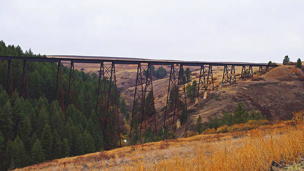 Historical Art Print featuring the photograph Rr Trestle Spans Lawyer's Canyon by Mike and Sharon Mathews