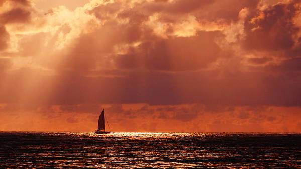 Sail Art Print featuring the photograph Sailboat Sun Rays by Lawrence S Richardson Jr