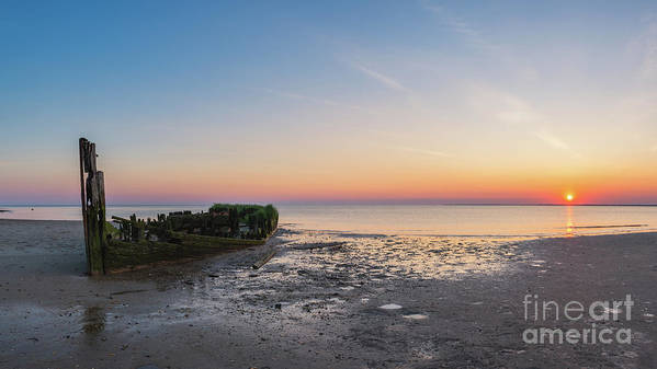 Shipwreck Sunset Art Print featuring the photograph Shipwreck Panorama by Michael Ver Sprill
