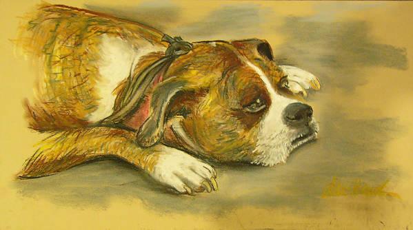 Dog Art Print featuring the pastel Sunday Arts Fair Dog In A Mood by Deborah Willard