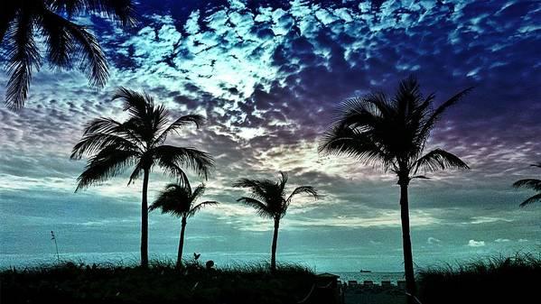 Art Print featuring the digital art Sunrise On Miami Beach by Alfred Blaho