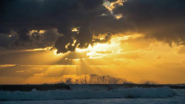 Florida Art Print featuring the photograph Sunrise Surf Spray Delray Beach Florida by Lawrence S Richardson Jr