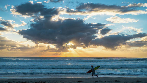 Florida Art Print featuring the photograph Sunrise Surfer Running Delray Beach Florida by Lawrence S Richardson Jr