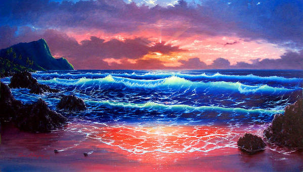 Sea Art Print featuring the painting Sunset by Daniel Bergren