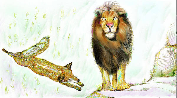Lion Art Print featuring the painting The Lion And The Fox 2 - The True Friendship by Sukalya Chearanantana