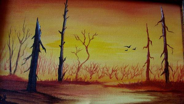 Landscape Art Print featuring the painting The New Beginning by Glory Fraulein Wolfe