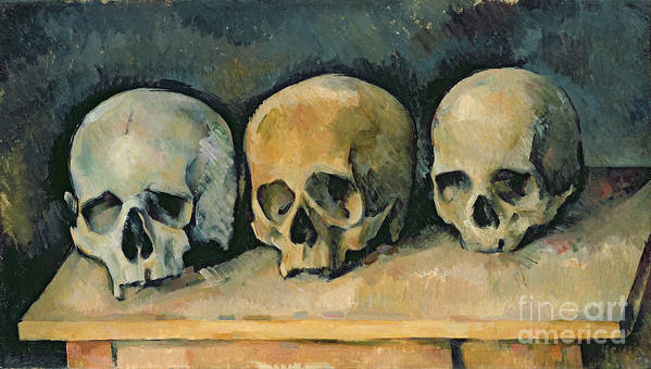 The Print featuring the painting The Three Skulls by Paul Cezanne