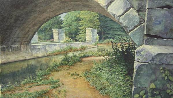 Erie Canal Art Print featuring the painting Under The Erie Canal by Stephen Bluto