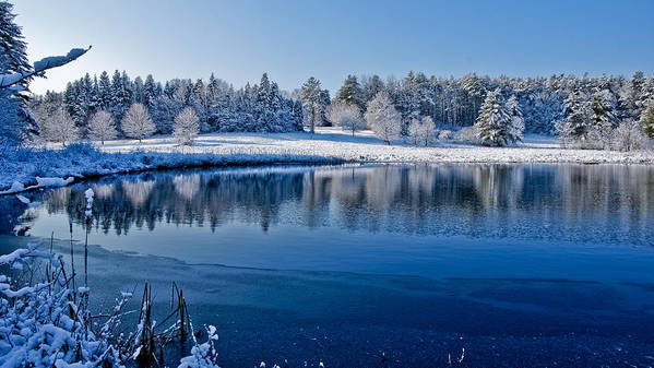 Winter Art Print featuring the photograph Winter Lake Scene 2 by Edward Myers