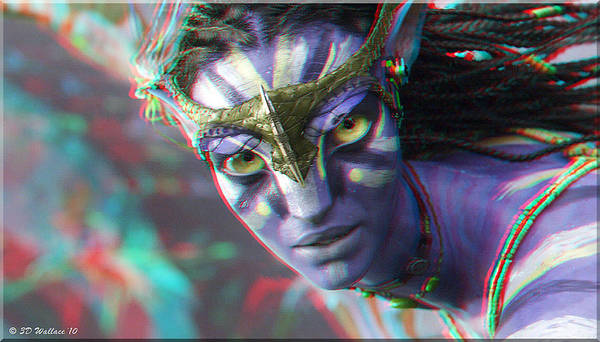 3d Art Print featuring the photograph Zoe Saldana - Neytiri - Use Red And Cyan 3d Glasses by Brian Wallace