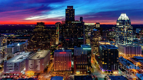 Gorgeous Art Print featuring the photograph A Gorgeous Fiery Sunset Engulfs The Sky Over The Downtown Austin by Austin Bat Tours