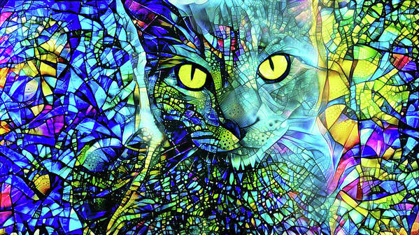 Gray Cat Art Print featuring the digital art Binx The Stained Glass Cat by Peggy Collins