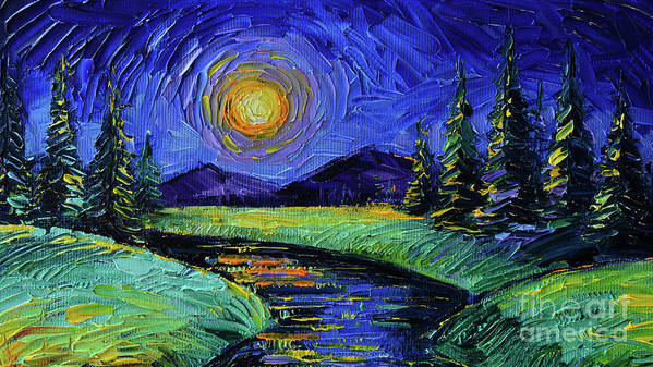Magic Night Art Print featuring the painting Magic Night - Detail 1 - Fantasy Landscape by Mona Edulesco