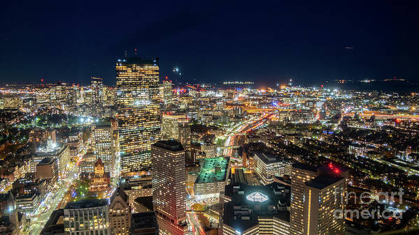 Boston Art Print featuring the photograph Panoramic View Of The Boston Night Life by PorqueNo Studios