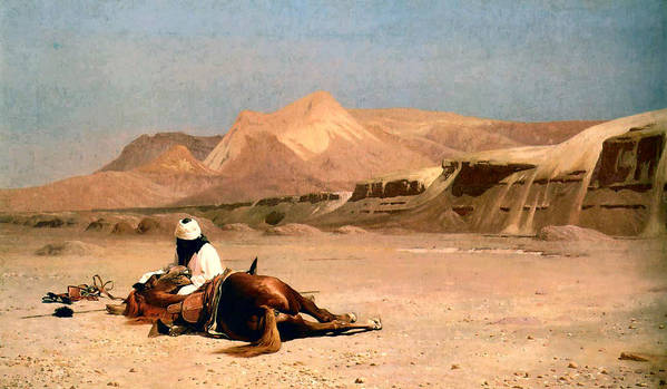 In The Desert Art Print featuring the digital art In The Desert by Jean-Leon Gerome