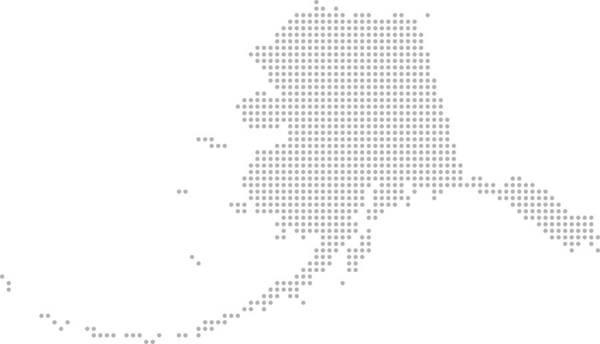 Alaska Dot Map Vector Outline Gray Background. Dotted Map Of Alaska ...