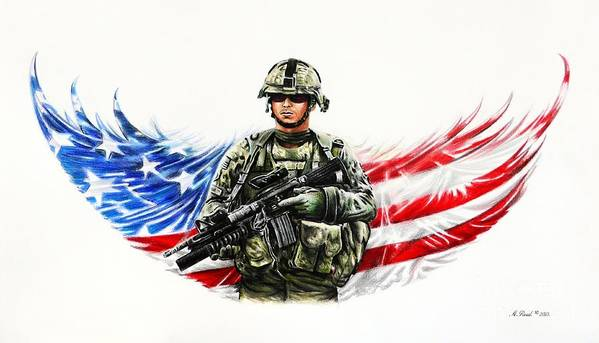 Patriotic Art Print featuring the drawing Americas Guardian Angel by Andrew Read