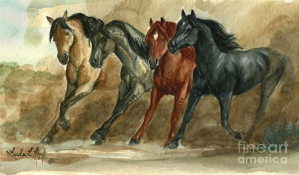 Wild Horses Print featuring the painting Dust Storm by Linda L Martin