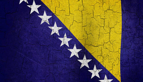 Aged Art Print featuring the digital art Grunge Bosnia And Hertzegoniva Flag by Steve Ball