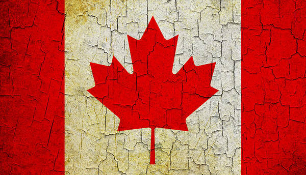 Aged Art Print featuring the digital art Grunge Canada Flag by Steve Ball