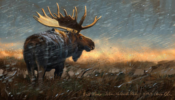 Moose Art Print featuring the digital art Incoming by Aaron Blaise